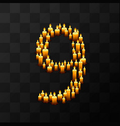 Tribulation numbers 9 of candles vector