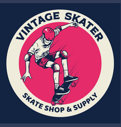 Vintage badge skateboarding concept vector