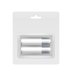 White Silver AA Batteries in Blister for branding vector
