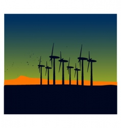 Windmill silhouettes on sunset landscape vector