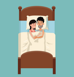 young couple sleep embraced together in bed vector image