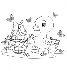 Easter duckling coloring page vector image