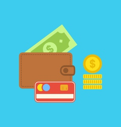Flat colorful icons of wallet credit card dollar vector image vector image