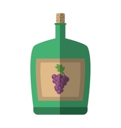 green big wine bottle liquid drink grape cork vector image