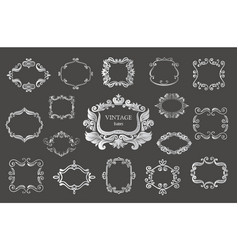 set of silver vintage floral frames and monograms vector image vector image