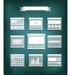 Transparent web site page templates collection vector image vector image