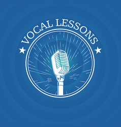 vocal lessons logo with retro microphone on vector image vector image