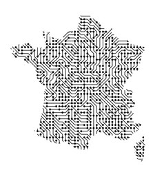abstract schematic map of france from the black vector image