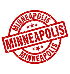 minneapolis red round grunge stamp vector image vector image