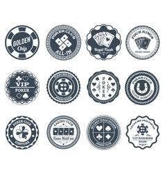 Poker black labels set vector image
