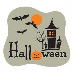 title halloween with pumpkin vector image