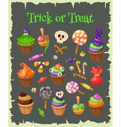 Trick or treat traditional sweets and candies for vector