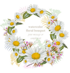 chamomile flowers round wreath card decor frame vector image vector image