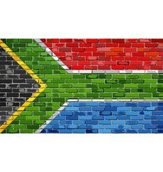 Flag of South Africa on a brick wall vector image vector image