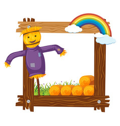 frame design with happy scarecrow vector image vector image