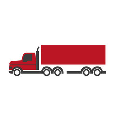 lorry symbol in red and black colors isolated on vector image