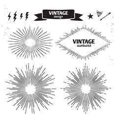 Set of Vintage Sun Burst monochrome light rays vector image vector image