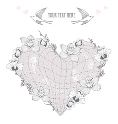 valentines day card heart made from flowers postca vector image