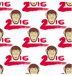 2016 seamless pattern with monkey head and vector image vector image