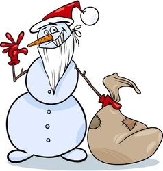 christmas snowman cartoon vector image vector image