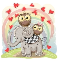 Cute Cartoon Elephant and Two Owls vector image vector image