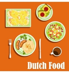 Dutch cuisine traditional dishes and snacks vector image