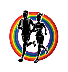 Man and woman running together marathon runner vector