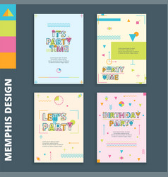 memphis style cards 1 vector image vector image