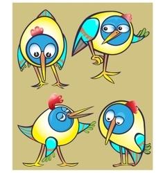 Set of cartoon doodle birds icons vector image vector image