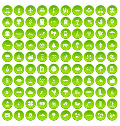 100 global warming icons set green circle vector