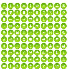100 global warming icons set green circle vector