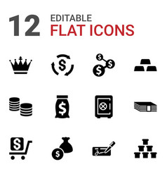 12 wealth icons vector image