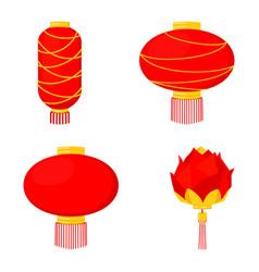 4 cartoon red chinese lantern set vector image