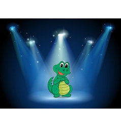 A young crocodile at the stage with spotlights vector