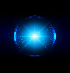 abstract blue lighting with circle and mesh vector image vector image