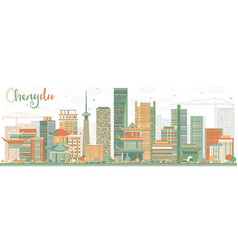 abstract chengdu skyline with color buildings vector image