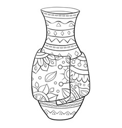 Adult coloring bookpage a cute vase vector
