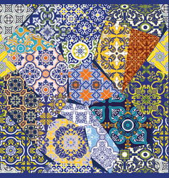 Antique azulejos tiles patchwork wallpaper vector
