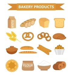 Bakery products icon set flat style of vector