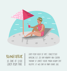 beach vacation poster banner woman sunbathing vector image