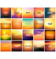 big set of 20 square blurred nature golden orange vector image vector image