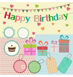 Birthday design elements for scrapbook vector image