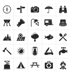 Black Camping and tourism icons vector