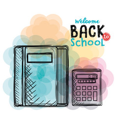 book and calculator back to school drawings vector image