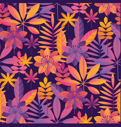 Bright ultraviolet tropical seamless pattern vector