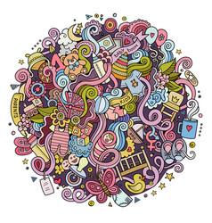 cartoon cute doodles hand drawn baby vector image