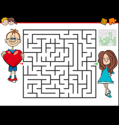 cartoon maze game with boy in love and girl vector image