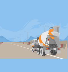 Cement truck construction scene vector