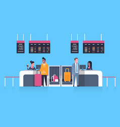 Check in airport with stuff workers on counter vector