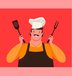chef holding kitchen tools for grill barbecue vector image
